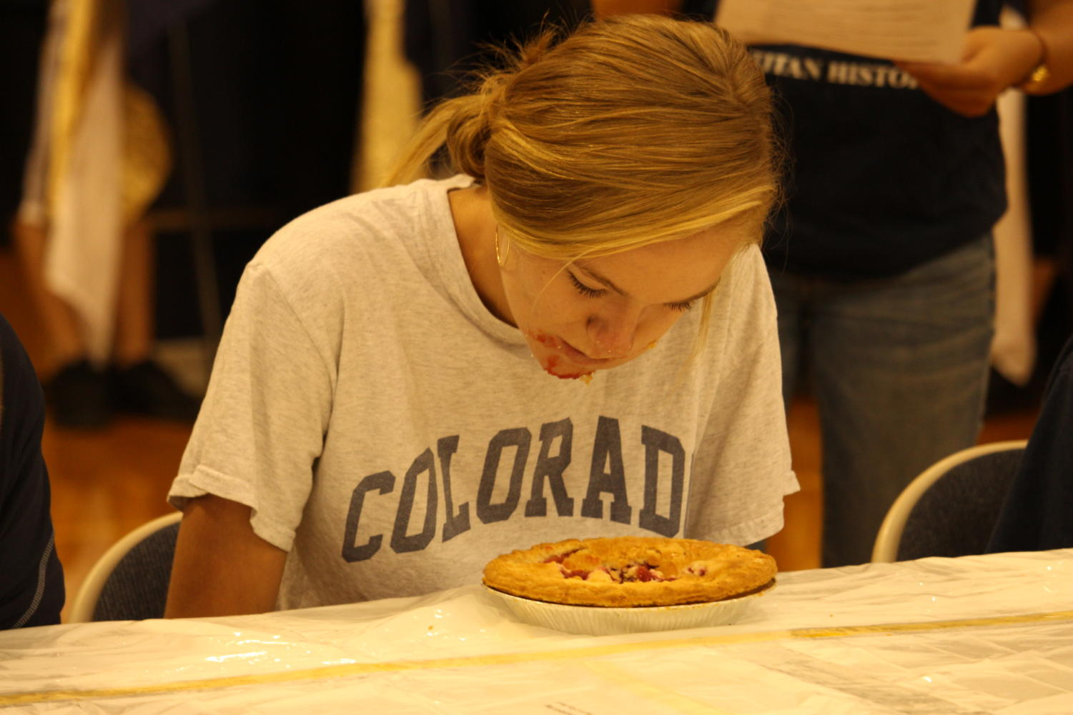 Makayla Metzler during the pie eating contest